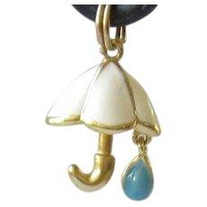Precious Sterling Silver Gold Overlay Enamel Charm - Umbrella