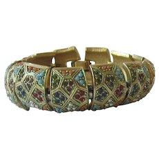 Gold Tone Multi- Stones Linked Bracelet
