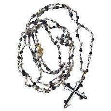 Glass Bead Necklace, Black & White Enameled Cross