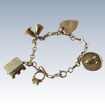 Vermeil Charm Bracelet - Five Wedding Charms