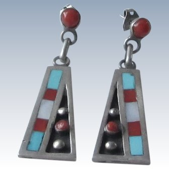 Sterling Silver Triangle Coral, Turquoise, Mother of Pearl Earrings