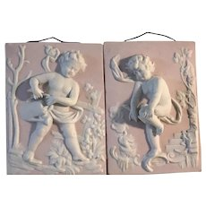 Vintage Pair of Bisque Wall Plaques