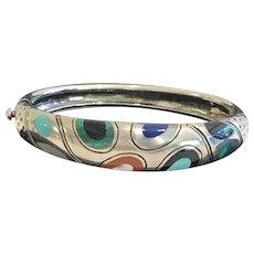 Sterling Silver, 18 K Inlaid Bracelet