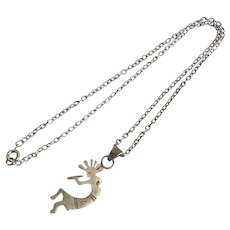 Sterling Silver Kokopelli Pendant, Chain Necklace