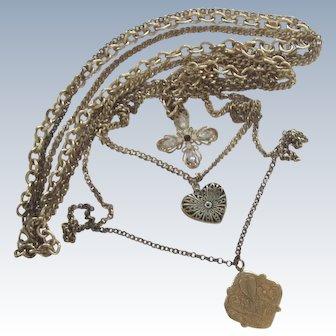 Opera Length Three Chain Necklace