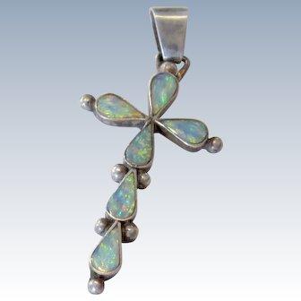 Sterling Silver Triple Opal Cross Pendant