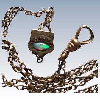 Edwardian Watch Fob Chain, Slider Opal Eye