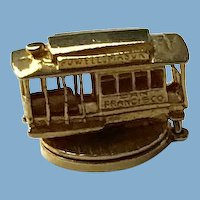 Sterling, Gold Overlay Cable Car Charm
