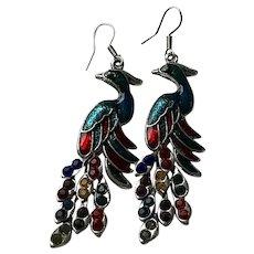 Silver Tone Peacock Earrings
