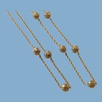 Double Chain Necklace Filigree Beads