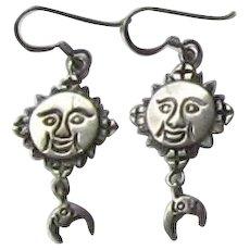 Star & Moon Silver Earrings