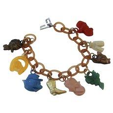 Vintage Celluloid Disney Charm Bracelet