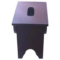 Medium Maroon Wood Footstool