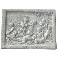 Bisque Plaque of Children Playing