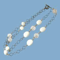 Vintage Gold Tone White Beads and Crystal Necklace