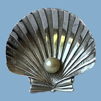 Crown Trifari Clam Shell Brooch
