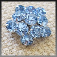 Sparkling Vintage Coro Ice Blue Rhinestone Pin/Brooch