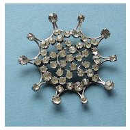 Striking Vintage Large Rhinestone Silver Tone Brooch