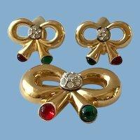 Vintage Bow Brooch & Earring Set by Joan Rivers