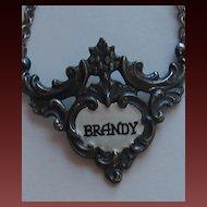 "Handsome Vintage Silver Tone Enamel ""BRANDY"" Liquor Tag"