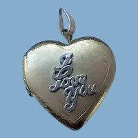 """14 K G F Heart Locket """"I love You"""""""