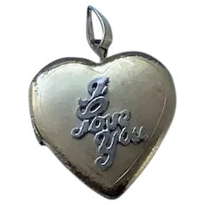 "14 K G F Heart Locket ""I love You"""