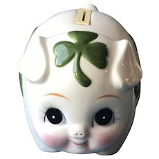 Ceramic Piggy Bank with Shamrocks