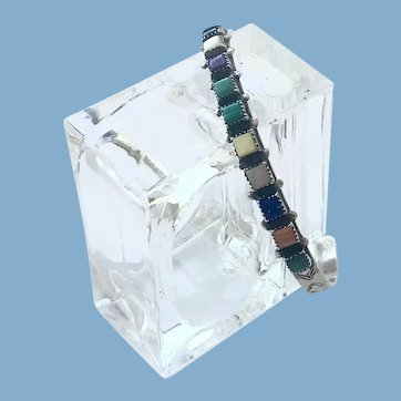 Native American Multi Color Stones Sterling Bracelet