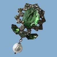 Victorian Green Glass, Rhinestones and Pearl Brooch