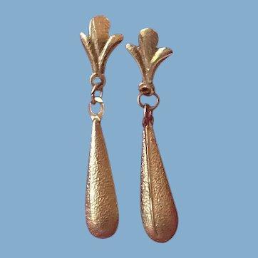 Dainty 14 K Gold Tear Drop Earrings