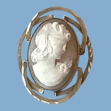 12K G.F. Shell Cameo Brooch