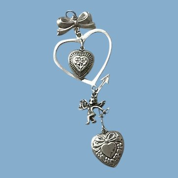 Hearts, Cupid Sterling Silver Pendant