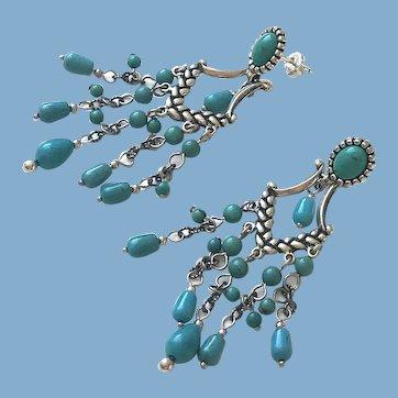 Sterling Silver Turquoise Gemstone Earrings