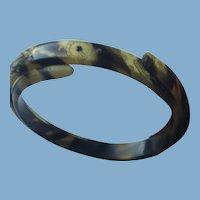 Vintage Faux Tortoise shell Etched Bracelet
