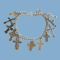 12 Sterling Silver Cross Charm Bracelet