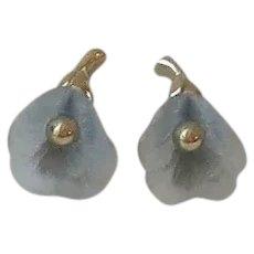 Blue Flower Gold Tone Earrings