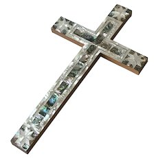 Vintage Olive Wood Cross-Mother of Pearl,Abalone