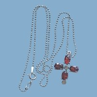 Sterling Silver Red Glass Cross & Chain