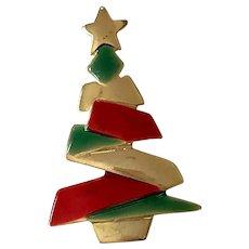 Gold Tone Enamel Christmas Tree Pin