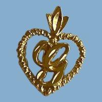 """Heart Pendant, Gold Plate Monogram """"G"""""""