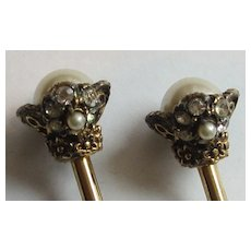 Rhinestone Studded Gold Tone and Large Faux Pearl Vintage Cocktail Forks