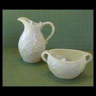 """Beautiful Vintage Belleek """"IVY"""" Cream and Sugar Bowl"""