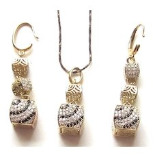 Swarovski Crystals 18K Gold Plated Chain, Pendant and Dangle Earrings