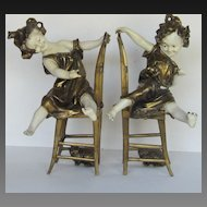 Pair Viennese Cold Painted Bronze Girls and Kittens