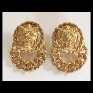 Vintage Pierced Gold Tone Roaring Lion Head Earrings