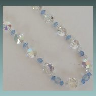 Beautiful Aurora Borealis and Blue Crystal Necklace