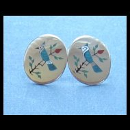 Sterling Silver Vintage Inlaid Bird Pierced Earrings