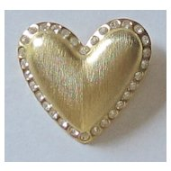 Vintage Large Goldtone and Rhinestone Puffy Heart Brooch