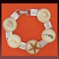 Vintage Sea Shell, Sea Creature Silvertone bracelet