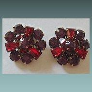 Kramer Vintage Gold Tone Deep Purple, Red Glass Earrings